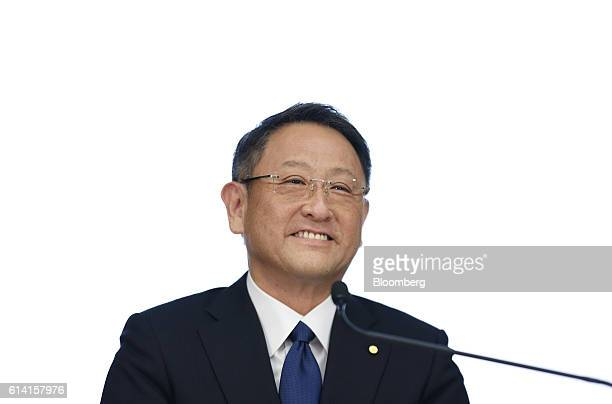 Akio Toyoda president of Toyota Motor Corp reacts during a news conference in Tokyo Japan on Wednesday Oct 12 2016 Suzuki Motor Corp said it's...