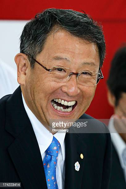 Akio Toyoda president of Toyota Motor Corp reacts during the completion ceremony of the company's Tajimi service center in Tajimi Gifu Prefecture...