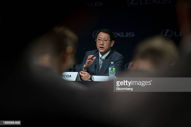 Akio Toyoda president of Toyota Motor Corp speaks during a news conference in New York US on Friday April 19 2013 Toyota Motor Corp plans to build...