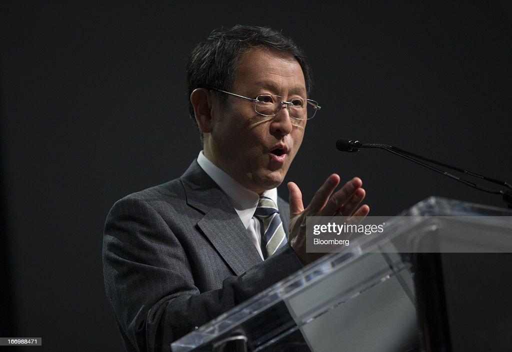Akio Toyoda, president of Toyota Motor Corp., speaks during a news conference in New York, U.S., on Friday, April 19, 2013. Toyota Motor Corp. plans to build Lexus ES 350 sedans in Kentucky, the first U.S. production for its luxury brand, Toyoda pushes to localize output in the automaker's biggest markets. Photographer: Scott Eells/Bloomberg via Getty Images