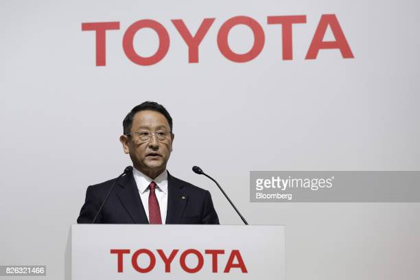 Akio Toyoda president of Toyota Motor Corp speaks during a news conference in Tokyo Japan on Friday Aug 4 2017 Toyota Motor Corp and Mazda Motor Corp...