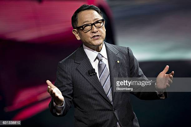 Akio Toyoda president of Toyota Motor Corp speaks during the 2017 North American International Auto Show in Detroit Michigan US on Monday Jan 9 2017...