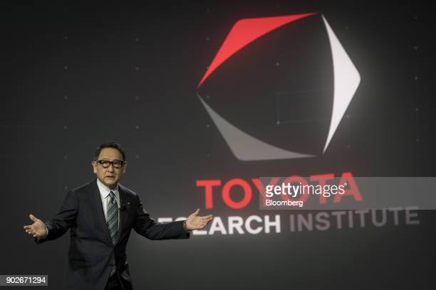 Akio Toyoda president of Toyota Motor Corp speaks during the company's press conference at the 2018 Consumer Electronics Show in Las Vegas Nevada US...