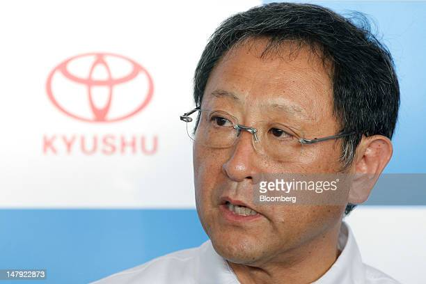 Akio Toyoda president of Toyota Motor Corp speaks to the media after a lineoff ceremony for the company's Lexus ES series sedans at the Toyota Motor...