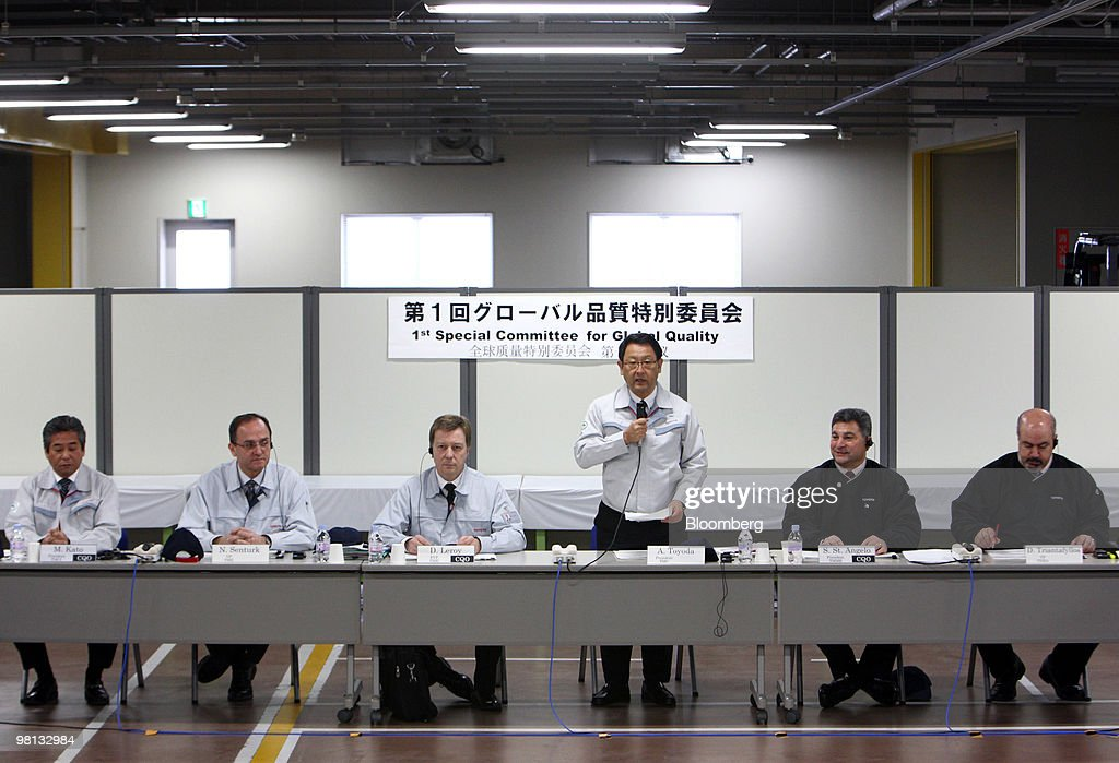 Akio Toyoda, president of Toyota motor Corp., standing third from right, speaks during the first meeting of the Special Committee for Global Quality in Toyota City, Japan, on Tuesday, March 30, 2010. Toyota Motor Corp.'s accelerator flaws and electronic vehicle controls will be examined by NASA as the U.S. expands its probe into incidents linked to at least 51 deaths. Photographer: Tomohiro Ohsumi/Bloomberg via Getty Images