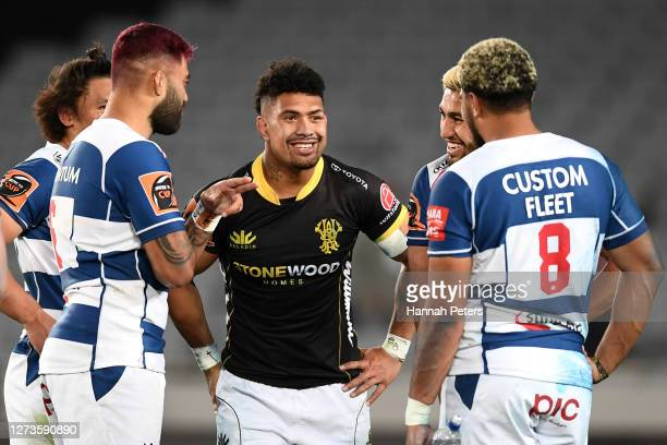 Akira Ioane Hoskins Sotutu and Rieko Ioane of Auckland catch up with Ardie Savea of Wellington after the round 2 Mitre 10 Cup match between Auckland...