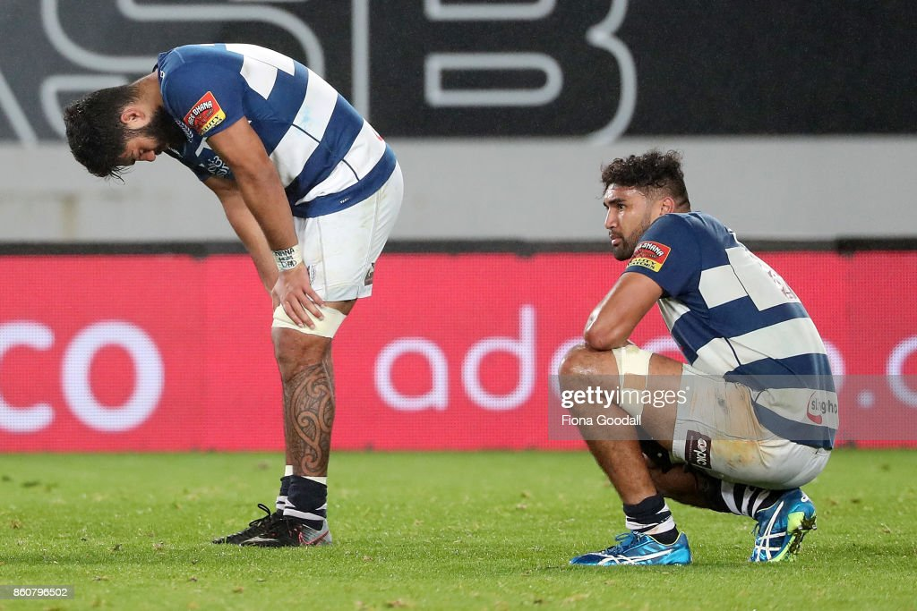 Akira Ioane of Auckland (L) and Taleni Seu of Auckland (R) after the match during the round nine Mitre 10 Cup match between Auckland and Canterbury at Eden Park on October 13, 2017 in Auckland, New Zealand.