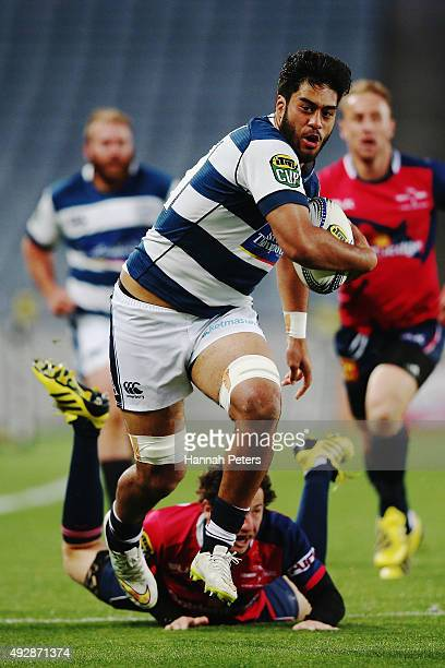 Akira Ioane of Auckland charges forward during the ITM Cup Semi Final between Auckland and Tasman at Eden Park on October 16 2015 in Auckland New...