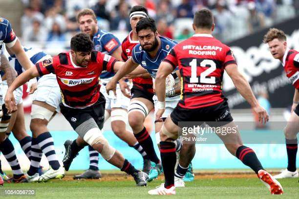 Akira Ioane of Auckland makes a break during the Mitre 10 Cup Premiership Final match between Auckland and Canterbury at Eden Park on October 27 2018...