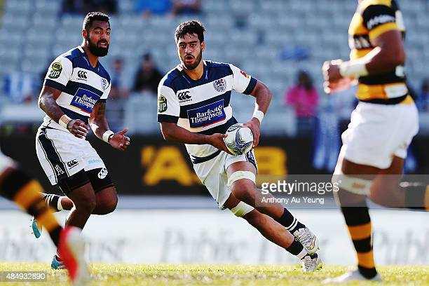 Akira Ioane of Auckland runs the ball during the round two ITM Cup match between Auckland and Taranaki at Eden Park on August 23 2015 in Auckland New...