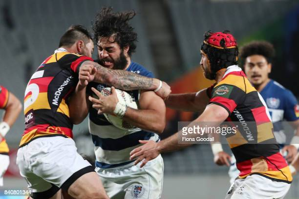 Akira Ioane of Auckland takes the ball up during the round three Mitre 10 Cup match between Auckland and Waikato at Eden Park on August 30 2017 in...