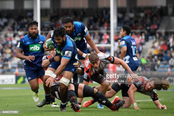 Akira Ioane of Blues runs with the ball during during the Super Rugby Round 9 match between the Sunwolves and the Blues at the Prince Chichibu...