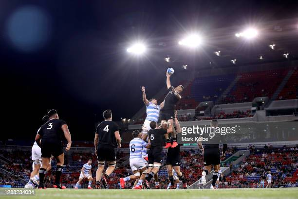 Akira Ioane of the All Blacks competes in the lineout during the 2020 Tri-Nations match between the Argentina Pumas and the New Zealand All Blacks at...