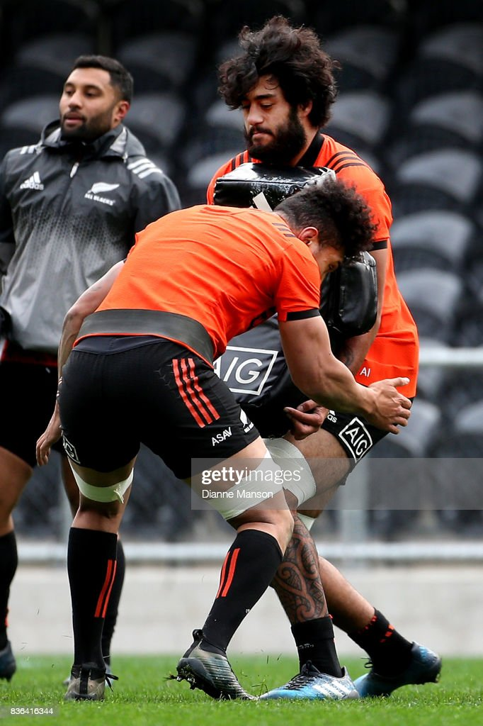 Akira Ioane of the All Blacks during a New Zealand All Blacks Training Session on August 22, 2017 in Dunedin, New Zealand.