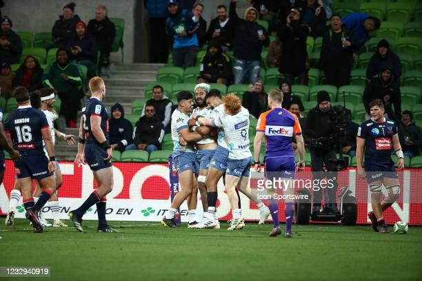 Akira Ioane of the Blues celebrates after scoring a try during round one of the Super Rugby Trans Tasman match between the Melbourne Rebels and Blues...