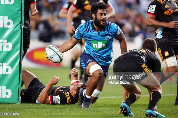Akira Ioane of the Blues celebrates his try during the round two Super Rugby match between the Blues and the Chiefs at Eden Park on March 2 2018 in...