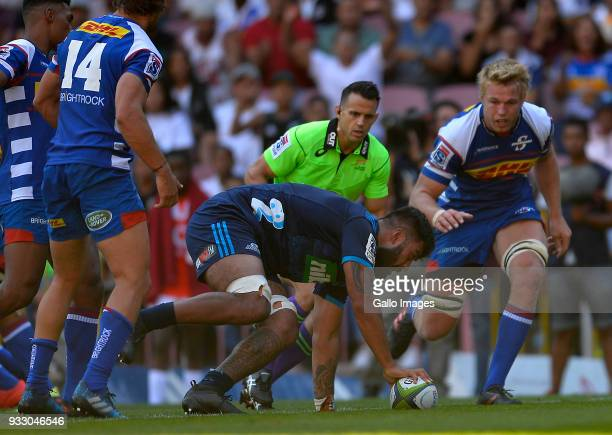 Akira Ioane of the Blues celebrates scoring a try during the Super Rugby match between DHL Stormers and Blues at DHL Newlands on March 17 2018 in...