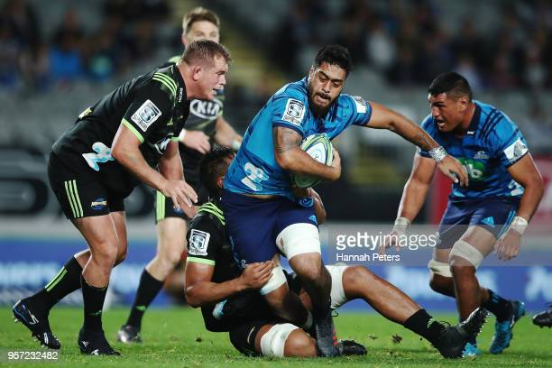 Akira Ioane of the Blues charges forward during the round 12 Super Rugby match between the Blues and the Hurricanes at Eden Park on May 11 2018 in...