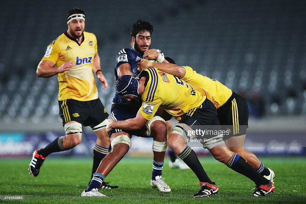 Akira Ioane of the Blues charges forward during the round 15 Super Rugby match between the Blues and the Hurricanes at Eden Park on May 23, 2015 in Auckland, New Zealand.