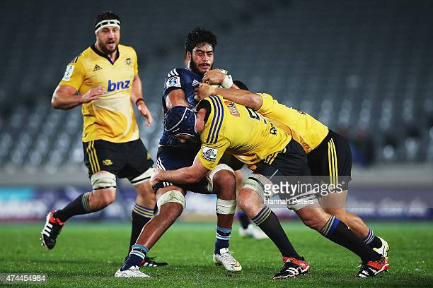 Akira Ioane of the Blues charges forward during the round 15 Super Rugby match between the Blues and the Hurricanes at Eden Park on May 23 2015 in...