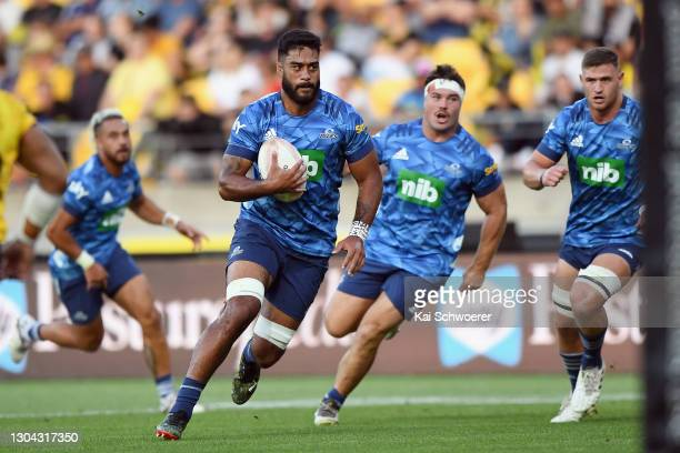 Akira Ioane of the Blues charges forward during the round one Super Rugby Aotearoa match between the Hurricanes and the Blues at Sky Stadium, on...