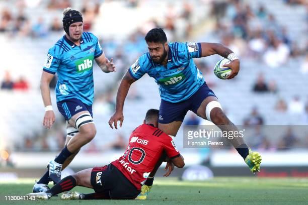 Akira Ioane of the Blues charges forward during the Super Rugby match between the Blues and the Crusaders at Eden Park on February 16, 2019 in...