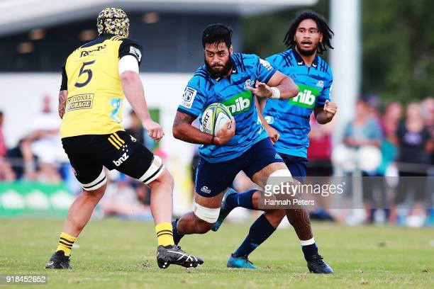 Akira Ioane of the Blues charges forward during the Super Rugby trial match between the Blues and the Hurricanes at Mahurangi Rugby Club on February...
