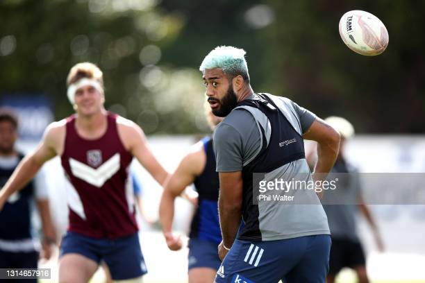 Akira Ioane of the Blues during a Blues Super Rugby Aotearoa training session at Blues HQ on April 27, 2021 in Auckland, New Zealand.