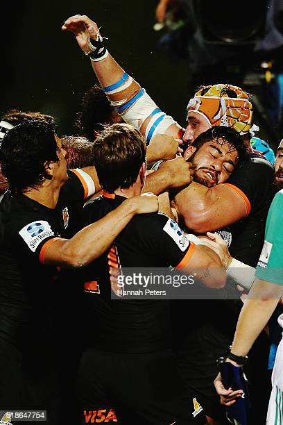 Akira Ioane of the Blues is caught up in a fight during the round 6 super rugby match between the Blues and the Jaguares at QBE Stadium on April 2...