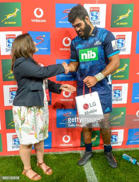 Akira Ioane of the Blues is man of the match during the Super Rugby match between Emirates Lions and Blues at Emirates Airline Park on March 10 2018...