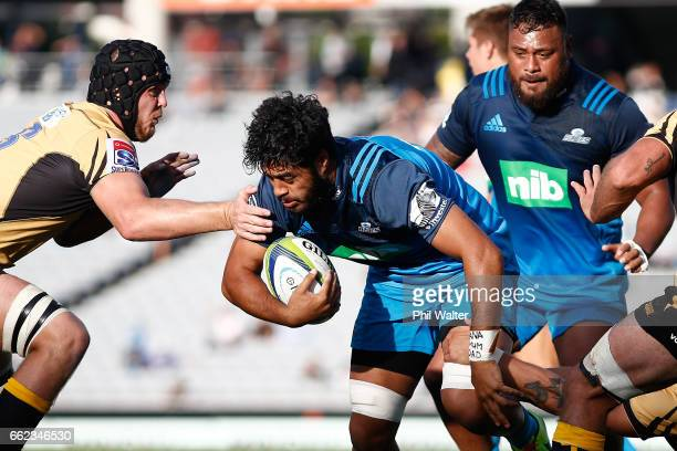 Akira Ioane of the Blues is tackled during the round six Super Rugby match between the Blues and the Force at Eden Park on April 1 2017 in Auckland...