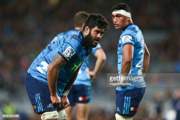 Akira Ioane of the Blues looks on during the round 10 Super Rugby match between the Blues and the Highlanders at Eden Park on April 20 2018 in...