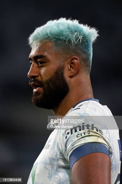 Akira Ioane of the Blues looks on during the round eight Super Rugby Aotearoa match between the Highlanders and the Blues at Forsyth Barr Stadium, on...