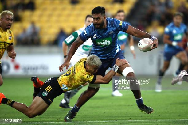 Akira Ioane of the Blues makes a break during the round one Super Rugby Aotearoa match between the Hurricanes and the Blues at Sky Stadium, on...