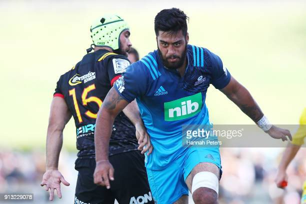 Akira Ioane of the Blues makes a break during the Super Rugby preseason match between the Chiefs and the Blues on February 2 2018 in Te Kuiti New...