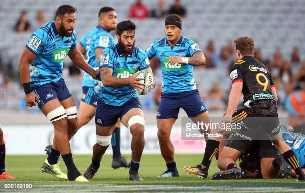 Akira Ioane of the Blues makes a run during the round two Super Rugby match between the Blues and the Chiefs at Eden Park on March 2 2018 in Auckland...