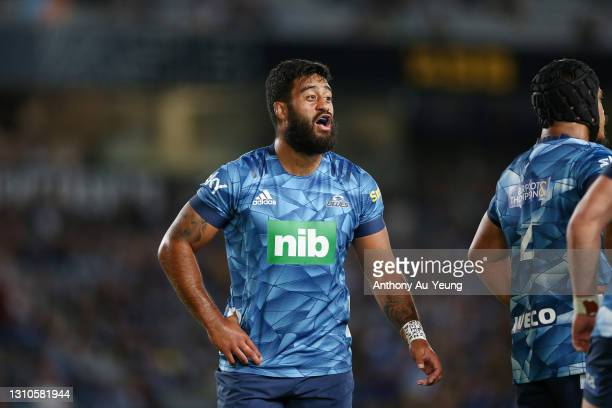 Akira Ioane of the Blues reacts during the round 6 Super Rugby Aotearoa match between the Blues and the Hurricanes at Eden Park, on April 03 in...