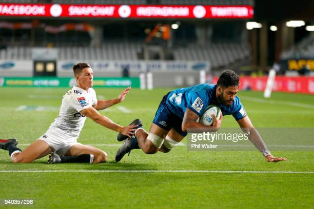 Akira Ioane of the Blues scores a try during the round sevens Super Rugby match between the Blues and the Sharks at Eden park on March 31 2018 in...