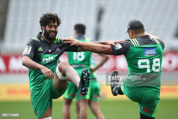 Akira Ioane of the Blues warms up during a Blues Captain's Run ahead of their match against the British Irish Lions at Eden Park on June 6 2017 in...