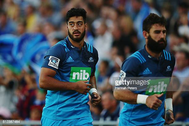 Akira Ioane of the Blues warms up during the round one Super Rugby match between the Blues and the Highlanders at Eden Park on February 26 2016 in...