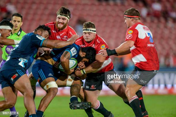 Akira Ioane of the Blues with possession during the Super Rugby match between Emirates Lions and Blues at Emirates Airline Park on March 10 2018 in...