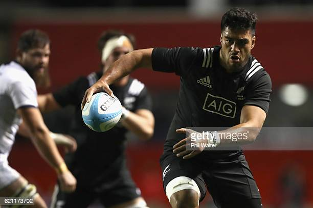 Akira Ioane of the Maori All Blacks heads to the tryline during the Intenational Rugby Match between the USA Eagles and the New Zealand Maori All...