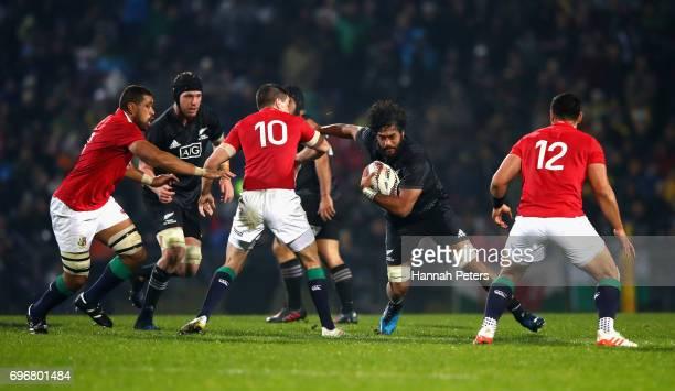 Akira Ioane of the Maori All Blacks takes on the Lions during the 2017 British Irish Lions tour match between the Maori All Blacks and the British...