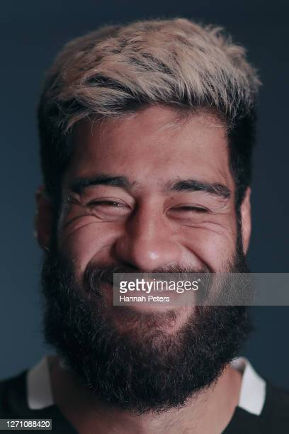 Akira Ioane poses during a New Zealand All Blacks portrait session on September 06, 2020 in Wellington, New Zealand.