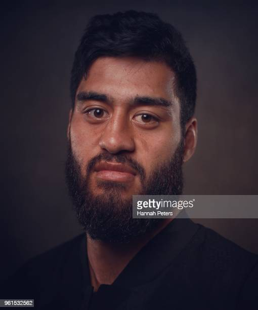 Akira Ioane poses during a New Zealand All Blacks portraits session on May 21 2018 in Auckland New Zealand