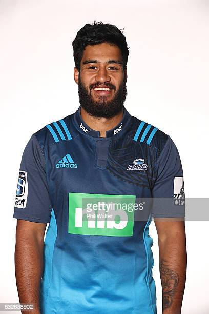 Akira Ioane poses during the Auckland Blues Super Rugby headshots session at ASB Showgrounds on January 25 2017 in Auckland New Zealand