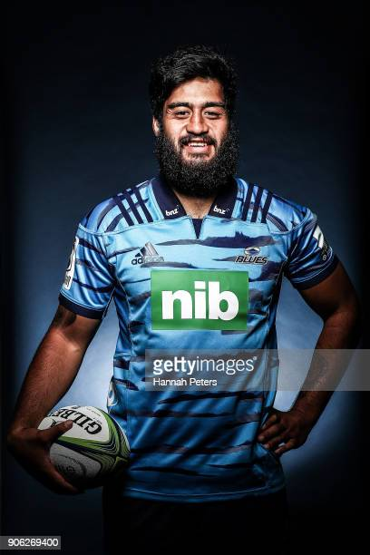 Akira Ioane poses during the Blues Super Rugby headshots session at Blues HQ on January 17 2018 in Auckland New Zealand