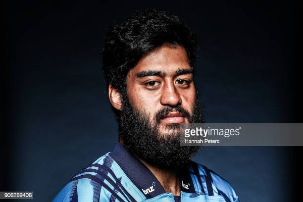 Akira Ioane poses during the Blues Super Rugby headshots session at Blues HQ on January 17, 2018 in Auckland, New Zealand.