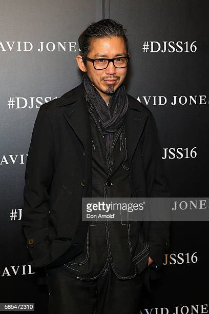 Akira Isogawa arrives ahead of the David Jones Spring/Summer 2016 Fashion Launch at Fox Studios on August 3 2016 in Sydney Australia