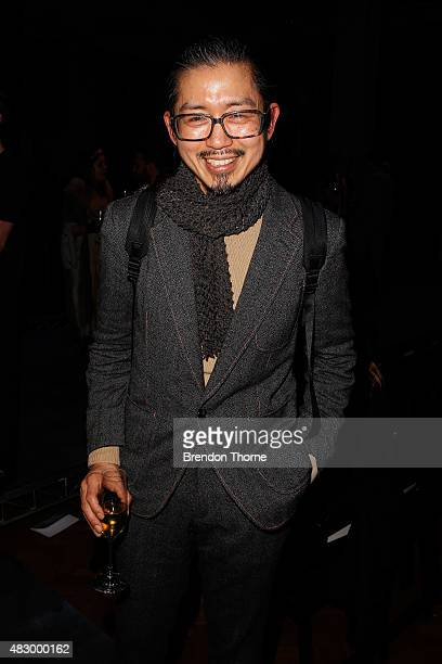 Akira Isogawa poses at the after party during the David Jones Spring/Summer 2015 Fashion Launch at David Jones Elizabeth Street Store on August 5...